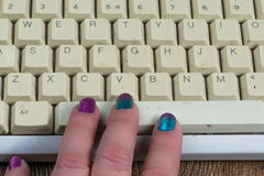 Fingers on keyboard spacebar Royalty Free Stock Photo