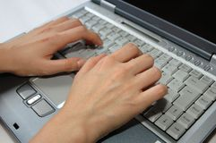 Fingers On Laptop Stock Photo