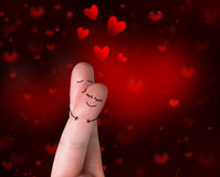 Fingers in love's kiss. Valentine's Day Stock Photo