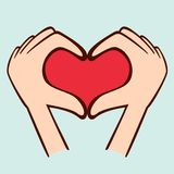 Fingers making shape of heart. Symbol of love Royalty Free Stock Photos