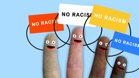 Fingers of one hand, of various ethnic groups manifest with banners, ideal footage to represent integration and racial. Problems, concept royalty free stock photography