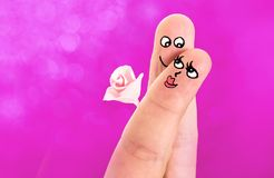 Fingers Painted Valentines Couple Stock Image