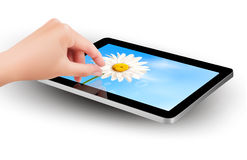 Fingers pinching to zoom tablet s screen. Vector Stock Image