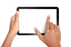 Fingers pinching to zoom tablet's screen Stock Photo