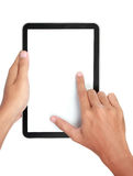 Fingers pinching to zoom tablet's screen Royalty Free Stock Photos