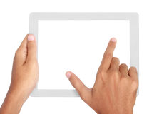 Fingers pinching to zoom tablet's screen Stock Photography