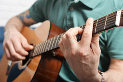 Fingers from playing acoustic guitar Royalty Free Stock Photography