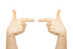 Fingers point to the right and left. Isolated on white background Royalty Free Stock Photo