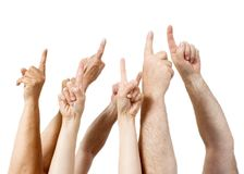 Fingers pointing. In one direction (white background Royalty Free Stock Photo