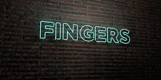 FINGERS -Realistic Neon Sign on Brick Wall background - 3D rendered royalty free stock image. Can be used for online banner ads and direct mailers Stock Photography