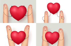Fingers and red heart collection. Fingers and heart collection. Image set for romantic love messages. Flat style vector realistic illustration isolated on white Royalty Free Stock Images