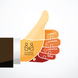 Fingers shape good ok  jigsaw banner Stock Photo