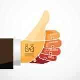 Fingers shape good ok  jigsaw banner. Concept infographic Template vector illustration Stock Photo