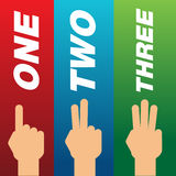 Fingers showing one, two and three. Suitable for education purpose Royalty Free Stock Photos