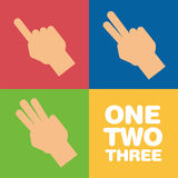 Fingers showing one, two and three. Suitable for education purpose Stock Image