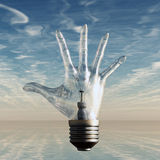 Fingers spread light bulb. Hand fingers spread light bulb Royalty Free Stock Images