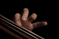 The fingers on the strings of the cello. On a black background royalty free stock photo