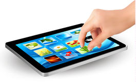 Fingers touching screen of touchpad with icons Royalty Free Stock Photos