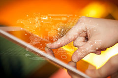 Fingers touching tablet with charts Royalty Free Stock Image