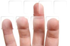 Fingers on transparent buttons Stock Images