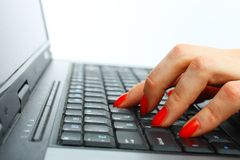 Fingers typing Royalty Free Stock Images