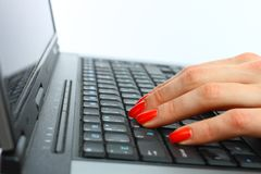 Fingers typing Stock Photography