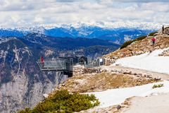 Dachstein Mountains in Austria. 5 Fingers is a viewpoint platform in the Dachstein Mountains on Mount Krippenstein, Upper Austria. Five Fingers named of its hand royalty free stock photography