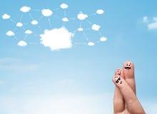Fingersmiley med molnnätverkssystemet Royaltyfria Bilder