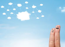 Fingersmiley mit Wolkennetzwerk-system Lizenzfreies Stockfoto