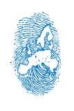 Fingerspitze mit Europakarte Stockfoto
