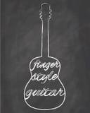 Fingersyle Guitar. Vector fingersyle guitar on chalkboard Royalty Free Stock Photography