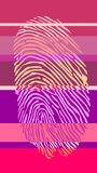 Fingertip on striped backdrop. Red gamma striped background with color fingertip Royalty Free Stock Image