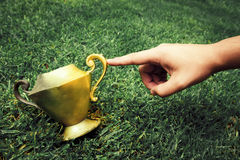 Fingertip Turns A Vintage Vase Into Gold Royalty Free Stock Photography