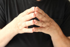 Fingertips together hand gesture Royalty Free Stock Images