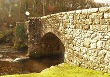Fingle Bridge. 17th century packhorse bridge on Dartmoor Royalty Free Stock Photos