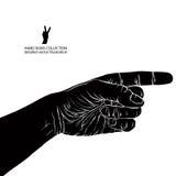 Fingra peka handen, detaljerad svartvit vektorillustrati Royaltyfri Fotografi