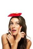 fingrar henne peka som är aktuellt till kvinnan royaltyfri bild