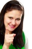 fingret pekar kvinnan Royaltyfri Bild