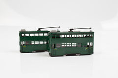 Fingure of double decker tram. The tiny of double decker tram at hk royalty free stock photography