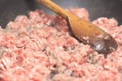 finhackad tät meat förbereder klart till upp Fotografering för Bildbyråer
