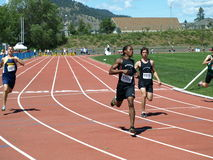 Finish of the 100 meters dash Stock Images