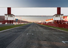 Finish. A racetrack with an empty board, for filling with text o logo Royalty Free Stock Images