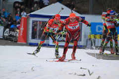 Finish in biatlhon Royalty Free Stock Photography