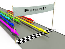 Finish with colored arrows №1. Finish with colored arrows on a white background №1 Stock Photography