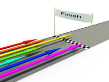 Finish with colored arrows №2. Finish with colored arrows on a white background №2 Royalty Free Stock Photo
