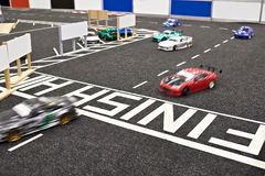 Finish of competition racing radio controlled cars. Finish of competition for racing radio-controlled cars royalty free stock image
