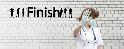 finish concept. doctor with stethoscope Royalty Free Stock Photos