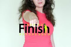 finish concept. Lady in Red Royalty Free Stock Images