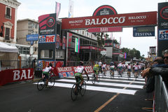 Finish cycle race. The finish line of a important children cycle race at bari in italy.13/5/2014 Royalty Free Stock Photo