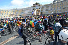 Finish cycling on Palace Square of St.Petersburg Stock Image